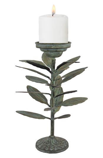 Foreside Falling Leaves Candle Holder, Metallic