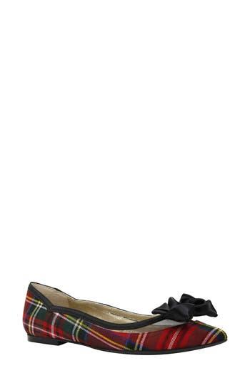 Women's J. Renee Allitson Bow Flat, Size 6 B - Red