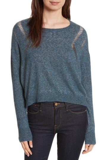 Women's Autumn Cashmere Boxy Ladder Stitch Cashmere & Silk Sweater