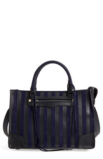 Rebecca Minkoff Regan Stripe Leather & Suede Top Handle Satchel - Blue