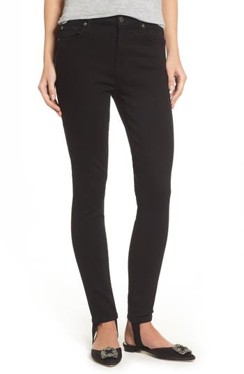 7 For All Mankind B(Air) High Waist Ankle Skinny Stirrup Jeans, Black