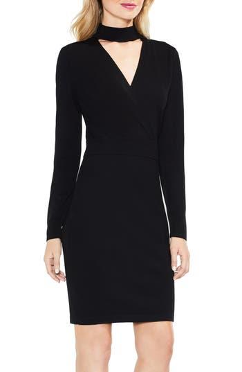 Women's Vince Camuto Mock Choker Neck Faux Wrap Dress, Size XX-Small - Black