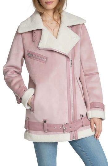 Women's Avec Les Filles Faux Shearling Biker Jacket, Size Medium - Pink
