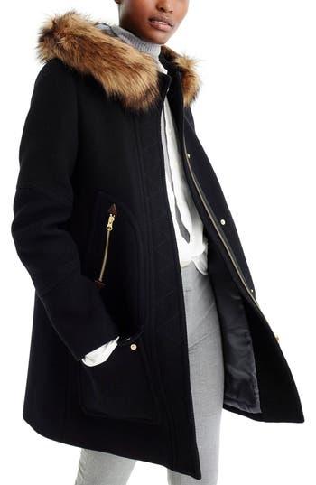 Plus Size J.crew Chateau Stadium Cloth Parka With Faux Fur Trim, 8 (similar to 16W) - Black