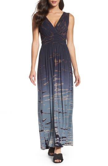 Women's Fraiche By J Tie Dye Ombre Jersey Maxi Dress, Size Small - Blue