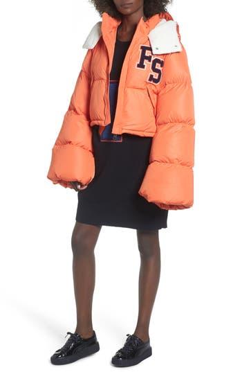 Women's Fenty Puma By Rihanna Crop Puffer Jacket, Size X-Small - Orange
