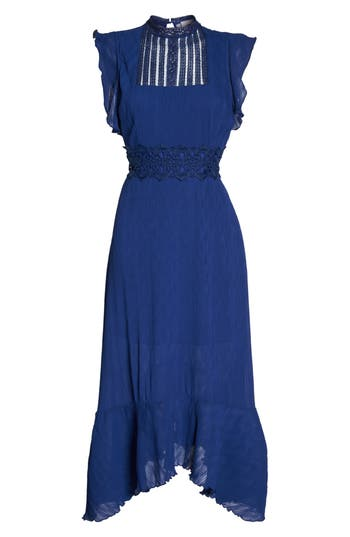Women's Foxiedox Isadora Lace Trim Pintuck Midi Dress