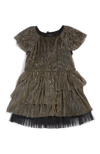 Girl's Little Marc Jacobs Ruffle Metallic Dress, Size 4 - Metallic