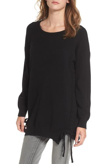 Women's Dreamers By Debut Lace-Up Tunic Sweater, Size X-Small - Black