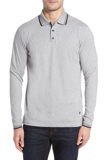 Men's Stone Rose Speckle Knit Long Sleeve Polo