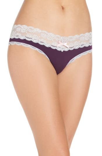 Women's Honeydew Intimates Lace Trim Low Rise Thong