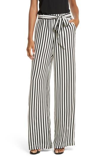 Women's Frame Stripe Wide Leg Silk Pants
