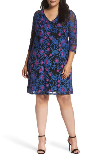 Plus Size Women's Adrianna Papell Marrakesh Embroidered Trapeze Dress