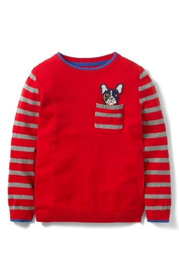 Boy's Mini Boden Pocket Crewneck Sweater, Size 4-5Y - Red