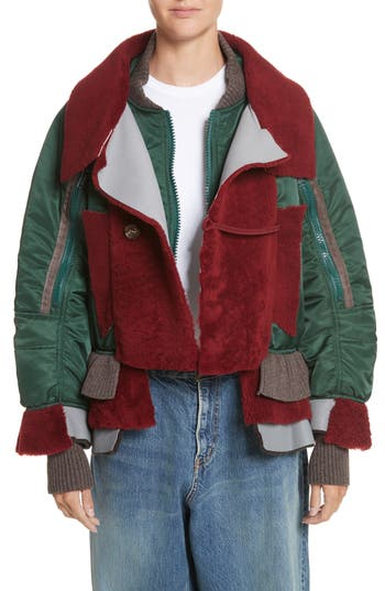 Undercover Mixed Media Bomber Jacket With Genuine Shearling Trim, Green