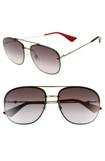 Gucci 62Mm Oversize Aviator Sunglasses - Gold/ Grey