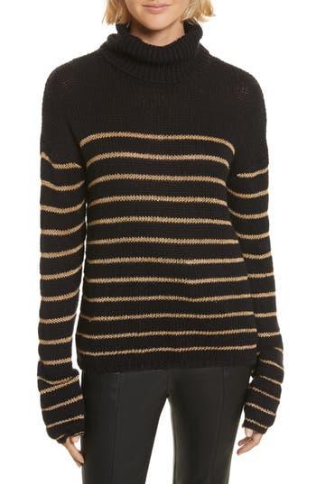 Women's A.l.c. Elisa Metallic Stripe Turtleneck Sweater, Size X-Small - Black