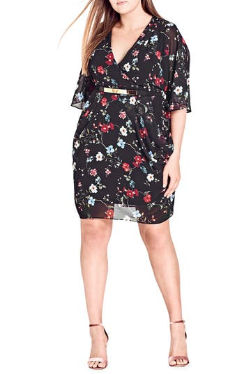 Plus Size Women's City Chic Floral Allure Belted Faux Wrap Dress, Size X-Small - Black