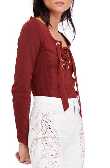Free People Looking Back Lace-Up Top, Burgundy