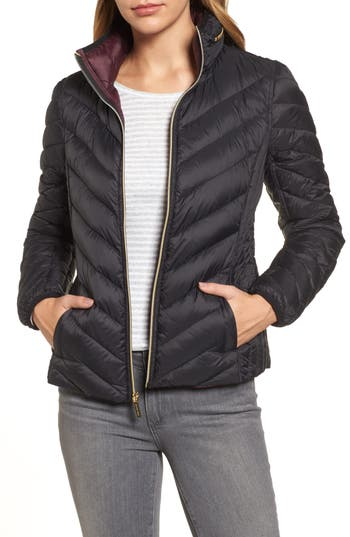 Michael Michael Kors Chevron Quilted Packable Down Puffer Jacket With Stowaway Hood, Black