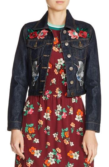 Women's Maje Embroidered Raw Denim Jacket, Size 36 - Blue