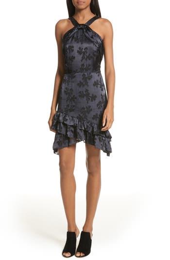Women's Saloni Burnout Silk Satin Dress, Size 0 - Black