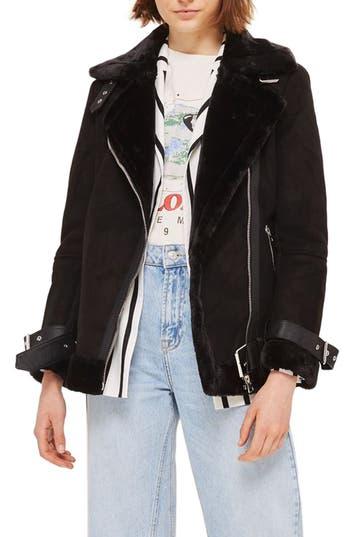 Women's Topshop Faux Shearling Biker Jacket, Size 14 US (fits like 16-18) - Black