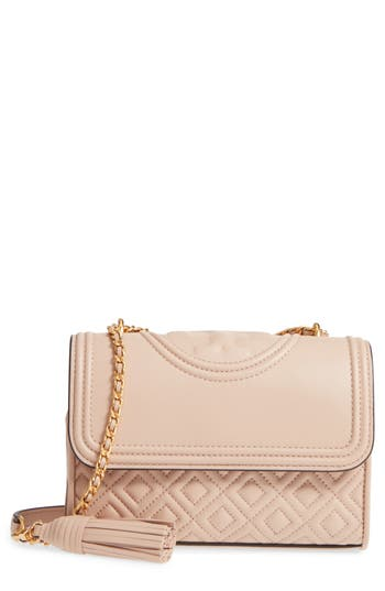 Tory Burch Small Fleming Quilted Lambskin Leather Convertible Shoulder Bag - Ivory