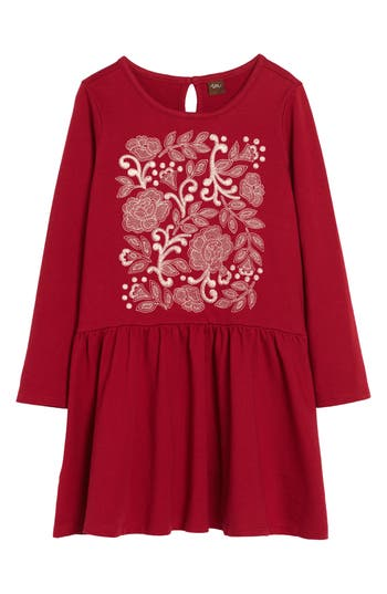 Girl's Tea Collection Feather & Fan Embroidered Drop Waist Dress