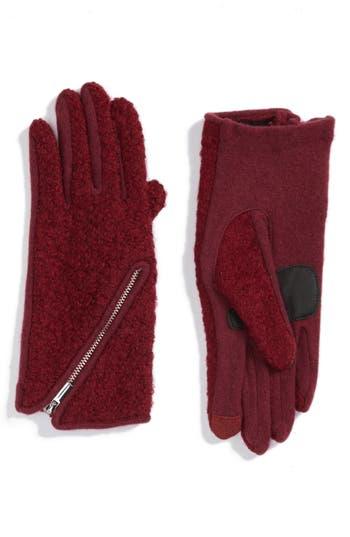 Women's Echo 'Touch - Zip Boucle' Tech Gloves, Size Small - Burgundy