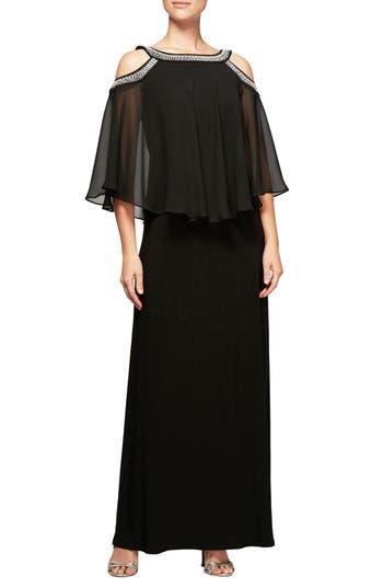 Women's Alex Evenings Cold Shoulder Popover Dress