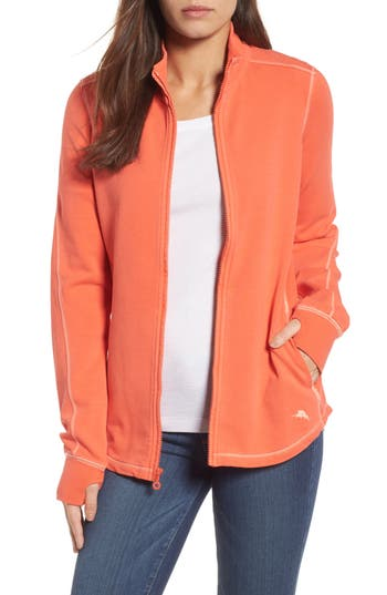 Women's Tommy Bahama Jen And Terry Full Zip Top, Size Small - Orange