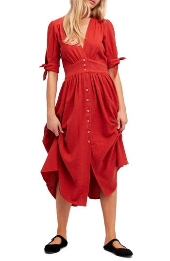 Free People Love Of My Life Midi Dress, Red