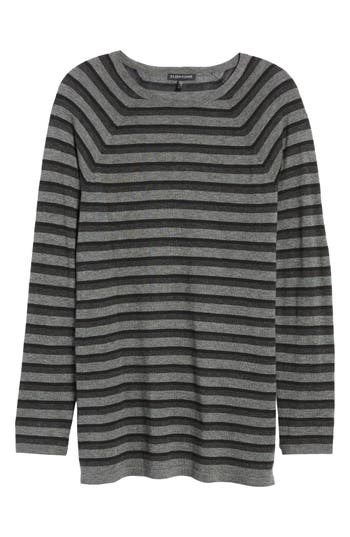 Women's Eileen Fisher Stripe Tencel Blend Sweater, Size XX-Small - Grey