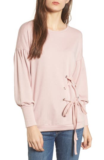 Women's Cotton Emporium Balloon Sleeve Tunic Sweater, Size X-Small - Pink