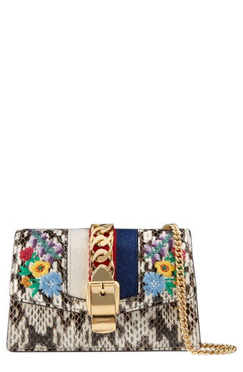 Women's Gucci Super Mini Chain Wallet With Hook - Grey