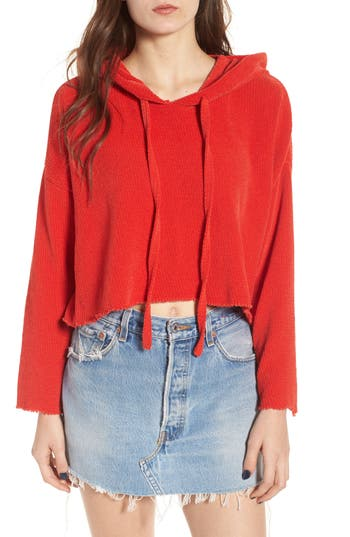 Women's Kendall + Kylie Chenille Crop Hoodie, Size X-Small - Coral