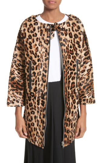 Women's Junya Watanabe Leopard Print Faux Fur Coat, Size Large - Beige