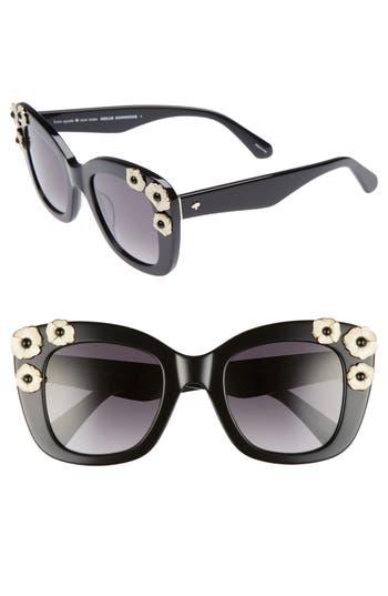 Women's Kate Spade Drystle 49Mm Floral Embellished Square Sunglasses - Black