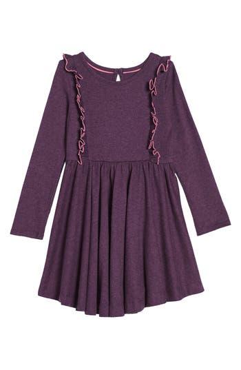 Girl's Mini Boden Ruffle Jersey Dress, Size 5-6Y - Purple
