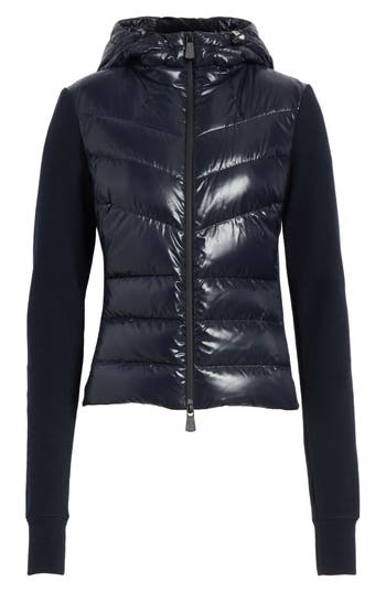 Moncler Quilted Front Hooded Jacket, Blue