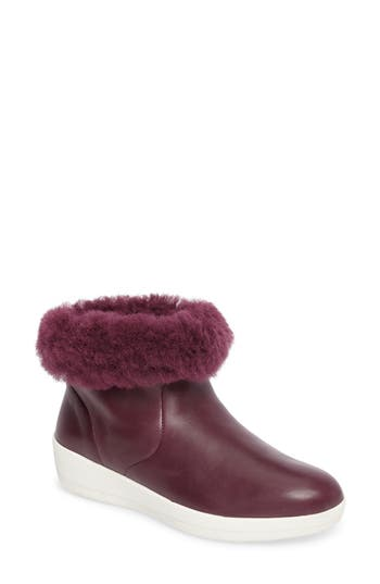 Women's Fitflop Skatebootie(TM) With Genuine Shearling Cuff, Size 5 M - Purple