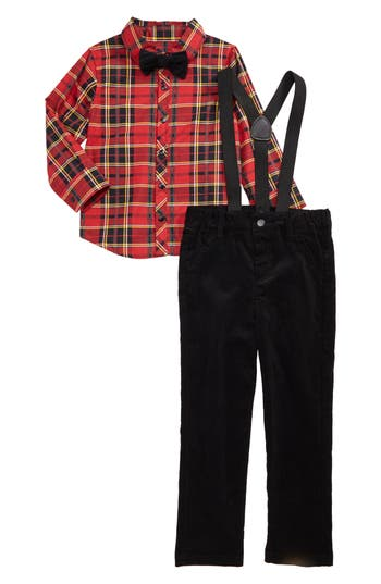 Toddler Boy's Little Brother By Pippa & Julie Plaid Shirt & Pants Set
