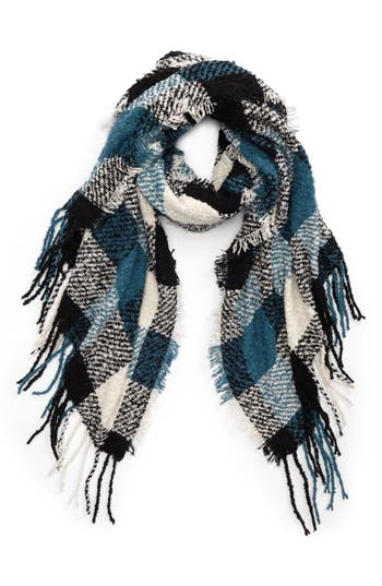 Women's Nyc Underground Buffalo Check Boucle Scarf, Size One Size - Blue