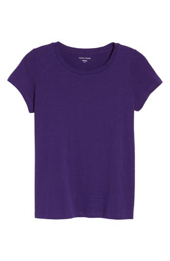 Women's Eileen Fisher Organic Cotton Tee, Size XX-Small - Purple