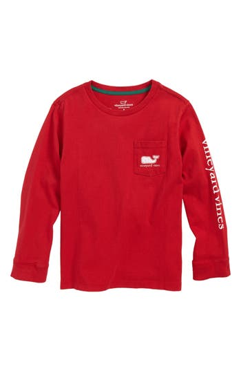 Toddler Boy's Vineyard Vines Vintage Whale Long Sleeve Pocket T-Shirt