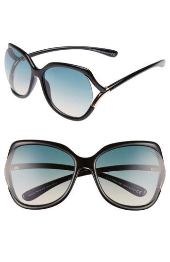 Tom Ford Anouk 60Mm Geometric Sunglasses - Black/ Gradient Turquoise