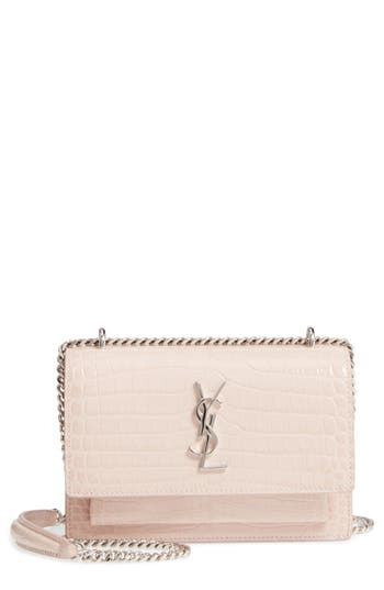 Saint Laurent Mini Monogram Sunset Croc Embossed Leather Shoulder Bag - Pink