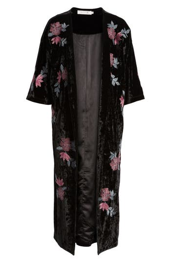 Billy T FLORAL VELVET LONG JACKET