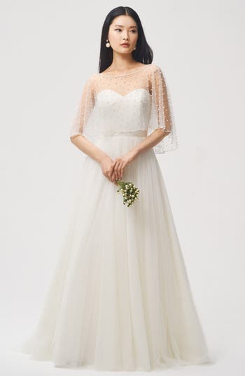 Vintage Inspired Wedding Dress | Vintage Style Wedding Dresses Womens Jenny Yoo Fiona Imitation Pearl Tulle Top $220.00 AT vintagedancer.com
